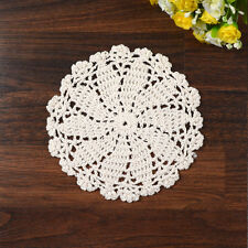 16cm Beige Round Pure Cotton Yarn Hand Crochet Lace Feather Doily Placemat Mat