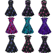 UK Ladies Housewife Vintage Rockabilly Swing Summer Party Ball Prom Floral Dress