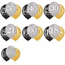 "12  Balloons 11"" Black/Silver/ Gold Helium/Air Birthday 18-100 Party Decorations"