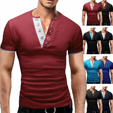 Stylish Casual Mens Slim Fit V Neck Short Sleeve T-Shirt Muscle Shirts Tops Tee