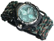 Water Risistant Sport Divding Wrist Watch Mens Analog-Digital Military paracord