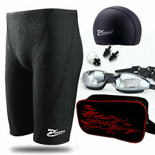 Mens Swimwear Trunks Boys Swimming Set Swim Goggles Caps Shorts Sharkskin Pants