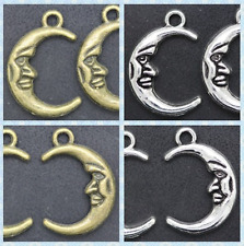 wholesale Lot beautiful two-sided moon Jewelry Making Charms Pendants 15x21.5mm