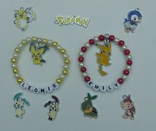 Personalised Pokémon Inspired Bracelets. Choose from 8 Charms. Any Name & Colour