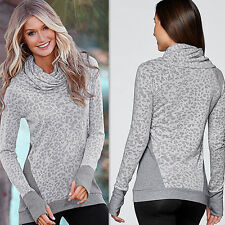 Women's Leopard Printing High-collar Blouse Long Sleeves Grey Tops Shirts Casual
