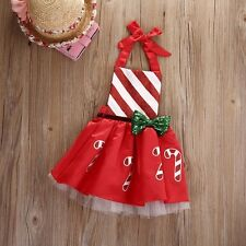 Cotton Sleeveless Cute Bow Candy Cane Print Red Dress For Baby Girl AK0027