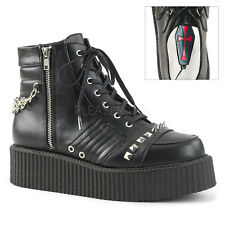 "DEMONIA Men's Punk Goth 2"" Platform Creeper Ankle Boots w/ Stud, Spike, & Chain"