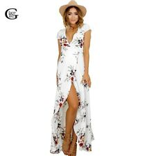 Lace Girl 2017 New Fashion Casual V Neck Floral Print Split Long Maxi Dress incl