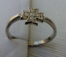Sterling Silver Maltese Cross Ring with Stones AMALFI CROSS