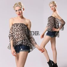 New Fashion Women Casual Sexy Leopard 3/4 Sleeve Strapless Off Shoulder KECP01