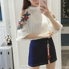 Korean Chiffon Women Dress Fashion Summer Cold Shoulder Shirt +A-Line Skirt 2pcs