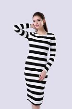 Women Long Sleeve Striped Casual Slim Winter Sheath Long Dress