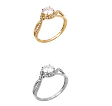 Halo Fancy Wedding Engagement Ring 14K Solid Real White OR Yellow Gold Round CZ