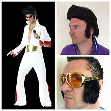 Adult Elvis 1950s King of Rock N Roll Costume Jumpsuit Wig Glasses Fancy Dress