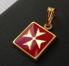 9ct 9k 375 Yellow Gold Maltese Cross Square Solid pendant FACTORY PRICE