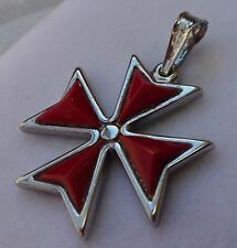 Hallmarked Sterling Silver Maltese Cross Solid pendant with Red Stone ONYX