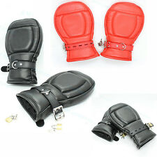 Roleplay Bondage Padded Lockable Fist Mitts Gloves Restraint Mittens Dog Palm