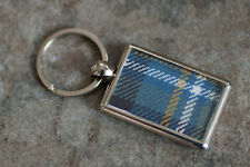 Silver plated, double sided keyring with choice of pure new wool clan TARTAN