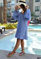 Women Striped Backless Tassel Straight Long Sleeve Knee Length Dress Vip-0357