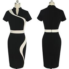 Women Fashion Stand Collar Color Block Patchwork Casual Dress VA0141