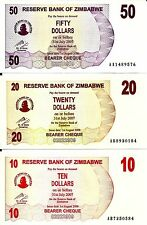 Set of 3 Zimbabwe Banknotes $50 $20 $10 UNC Currency Paper Money Dollar Rare