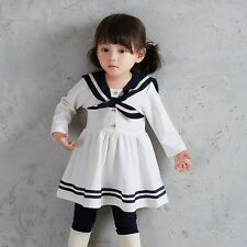 Baby Girls Long Sleeves  0-2 Year sailor collar Knee-Length dresses
