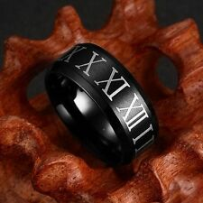 8mm Men Jewelry Stainless Steel Black Simple Roman Numerals Titanium Band Rings