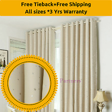 Blockout Beige*Ivory*Cream Stars Kids Room Bedroom Curtains Sheer Drapes Eyelets