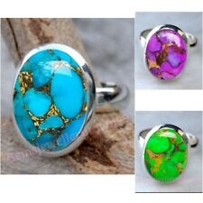 Blue Purple Green Copper Turquoise Ring 925 Sterling Silver Ring Size 7 8 9 10