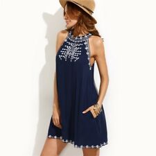Women Summer Navy Color Embroidered Cut Out Tie Back Round Neck Sleeveless Dress