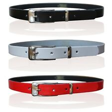 LADIES SKINNY LEATHER BELTS WOMENS GIRLS BELTS CHROME KEEPER MADE IN ENGLAND