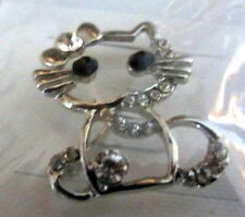 2 Cat Pins 1 gold colored + 1 silver colored