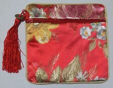 New Red Chinese Style Silk Embroidery Change Purse Wallet With Elegant Pattern 5