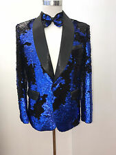 Mens Shiny Royal Blue Glistening Sequin Designer Blazer Jacket TR Premium 677