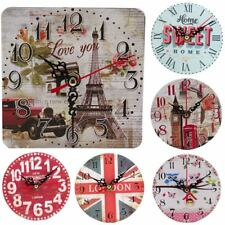 Vintage Decoration Home Kitchen Office Clock Round Square Silent Wood Wall XP