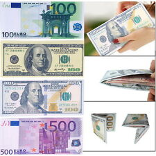 Chic Unisex Mens Womens Currency Notes Pattern Pound Dollar Euro Purse Wallet XP