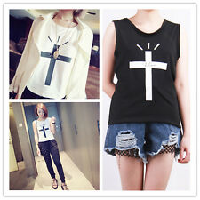 Women's Sleeveless Casual Pure Color Cross Printed Vest TEE T-Shirt Tops Blouse