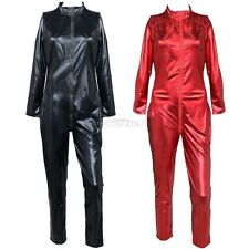 Ladies Wetlook Vinyl PVC Catsuit Bodysuit Jumpsuit Clubwear Zipper Front Costume