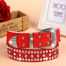 Stylish Leather Bling Rhinestone Crystal Western Cowgirl Belt Waistband Womens Q