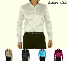 Mens 22 Momme 100% Pure Mulberry Silk Dress Business Shirts Long Sleeve Ailisilk