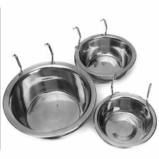 New Stainless Steel Hanging Bowl Feeding Bowl Pet Dog Food Water Cage Cup lot XP