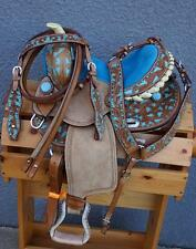 "12"" Tan BLUE BLING FILIGREE Barrel Racer Western Trail Youth PONY Saddle 4Pk NEW"