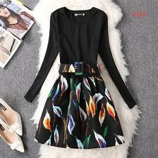Autumn Winter Wear Floral Print A-line Long Sleeve Casual Dress For Women