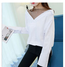 Korean Spring Women Batwing Sleeve Fashion Striped False Two Pieces Shirt Tops