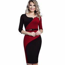 Women Casual Elegant Belted Fitted Knee-length Pencil Patchwork Dress