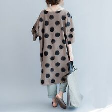 Women New Cotton Big Size Polka Dot T-shirt Summer Casual Loose Long Dress