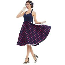 Women Fashion Summer Pin Up Polka Dots Patchwork Sleeveless Dress