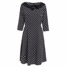 Women Vintage Dot Printed Ball Gown Swing Party Prom Long Sleeve Dress