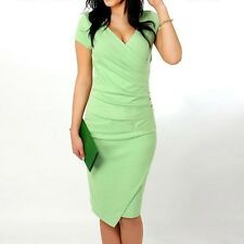 Women Fashion Short Sleeve V Neck Candy Color Sheath Knee Length Slim Dress