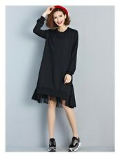 Autumn Fashion Women O Neck Full Sleeve Cotton Casual Wear Knee Length Dress